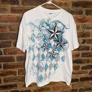 ♦️Men's White and Blue Star Graphic Tee Size XL